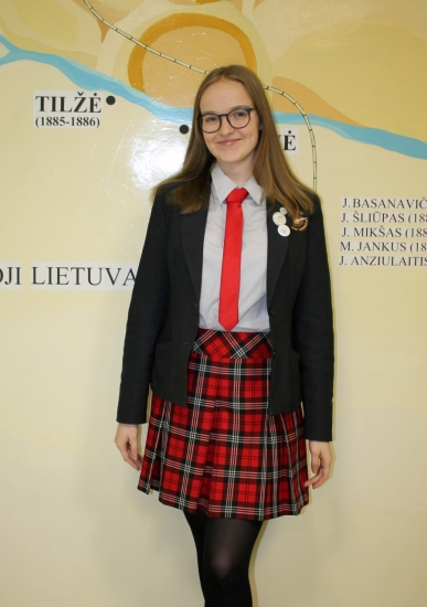 2018 m. Gimnazijos mokinių prezidentė Justė Lažauninkaitė